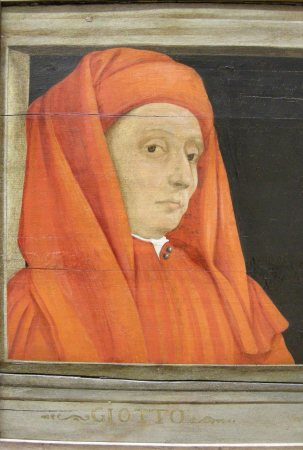 Detail of Paolo Uccello's Five Masters of the Florentine Renaissance showing a portrait of Giotto (c. 1450).