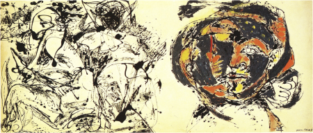 The figure on the right side of Jackson Pollock's 1953 painting Portrait and a Dream is considered by many to be a self portrait of the artist.