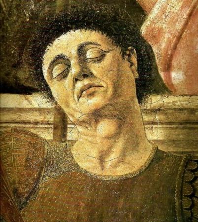 Piero della Francesca painted his Self-Portrait as one of the sleeping soldiers in The Resurrection of Christ (1432).