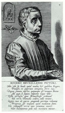 A 1572 engraved portrait of Rogier van der Weyden by Cornelis Cort.