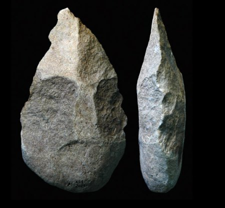 This Acheulean hand axe was found in Kenya and dates to 1.76 mya.