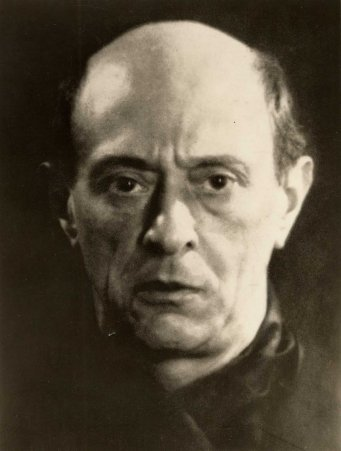 A 1927 photograph of Arnold Schoenberg by Man Ray.