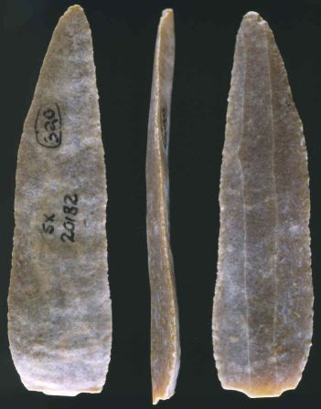 Three views of an Aurignacian blade.