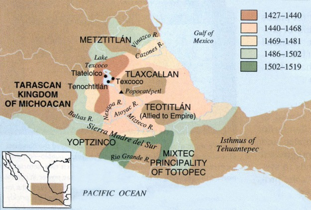 A map showing the growth of the Aztec empire.