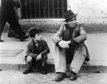 A still image from De Sica's Bicycle Thieves.