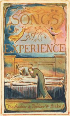 The hand-painted front cover of William Blake's Songs of Experience.