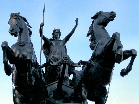 A statue of Boudica located at the Westminster Bridge in London.