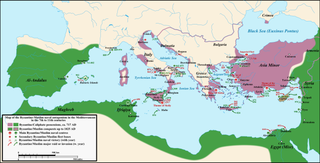 Battles between Byzantines and Muslims.
