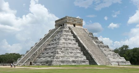 The El Castillo pyramid at Chichen Itza was built between 800 and 1200 CE.
