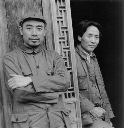 Mao Zedong (right) and Zhou Enlai in 1935.