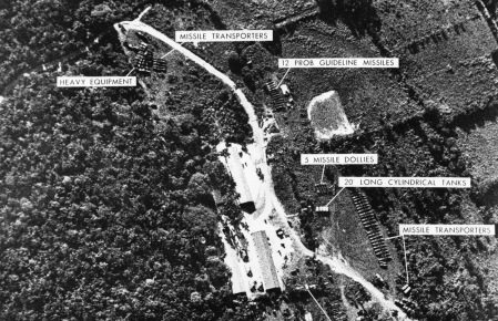 A US surveillance photograph showing a missile site in Cuba.