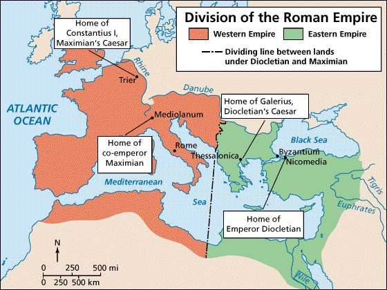 A map of Diocletian's division of the Roman Empire.