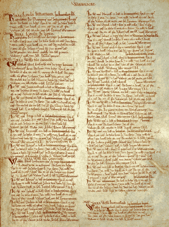 A page of the Domesday Book for Warwickshire.