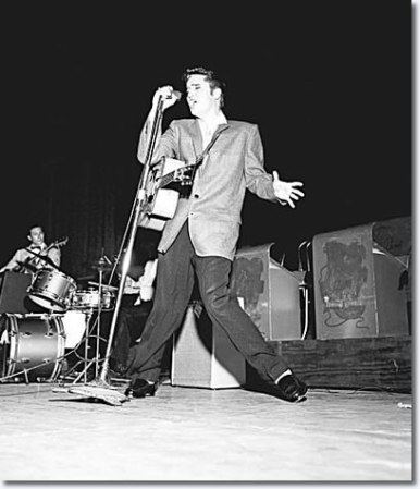 Elvis Presley performing in 1956.