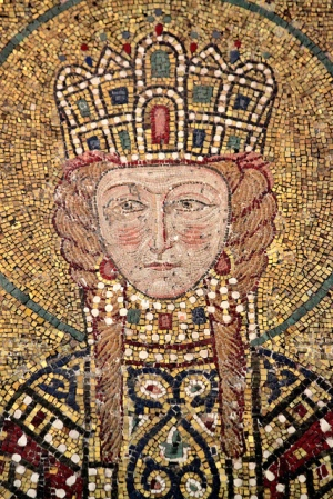 A mosaic portrait of Empress Irene from the Hagia Sophia, dating to 1122.