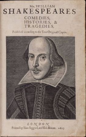 The cover page of the First Folio.