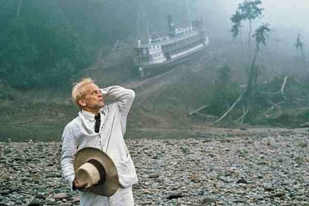 A still image from Werner Herzog's Fitzcarraldo, starring Klaus Kinski.