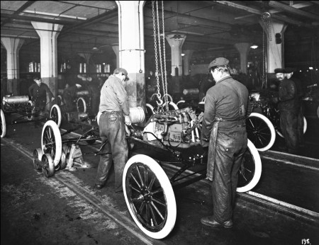 Ford's assembly line in action at his Highland Park Plant.