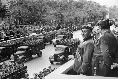 Generalissimo Francisco Franco reviewing his troops after taking Madrid in 1939.