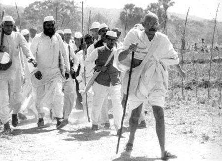 Gandhi leads the Salt March.