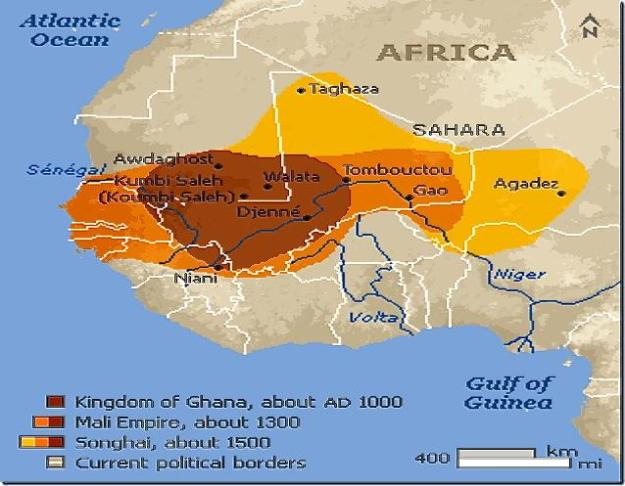 A map showing the Ghana, Mali and Songhai Empires in West Africa.