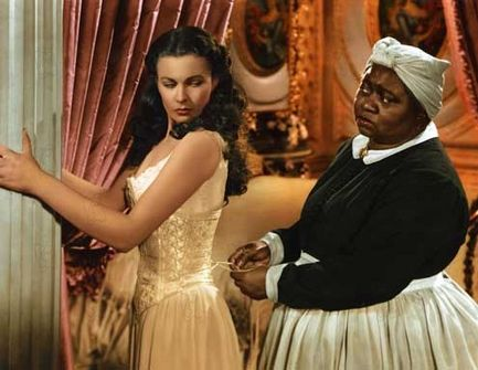 A still image from Gone with the Wind, showing Vivien Leigh and Oscar-winner Hattie McDaniel.