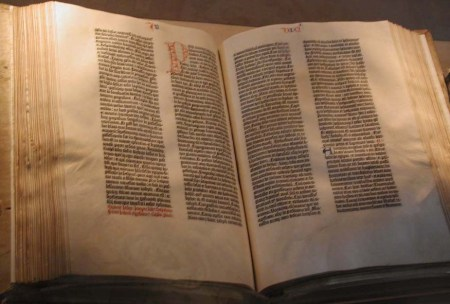 A copy of the Gutenberg Bible in the collection of the Library of Congress.