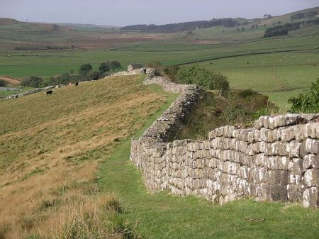 A section of Hadrian's Wall at Greenhead Lough in northern England.