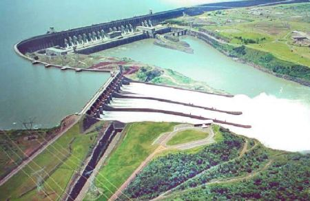 An aerial view of Itaipu Dam.
