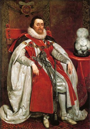 A portrait of James I of England by Daniel Mytens.