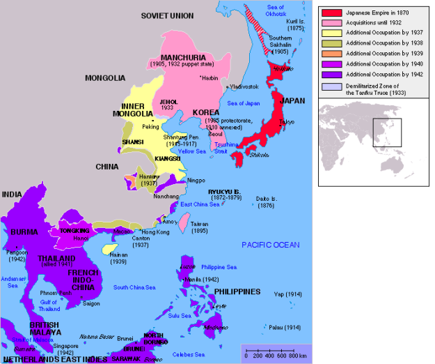 A map of the Japanese Empire in 1942.