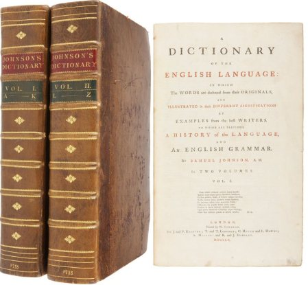 A copy of the original 1755 edition of Johnson's Dictionary.
