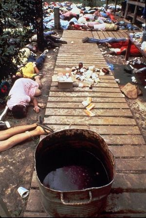 The scene at Jonestown, Guyana after Jim Jones led his followers in a mass suicide.