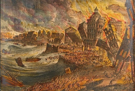 A copper engraving of the Lisbon earthquake of 1755.