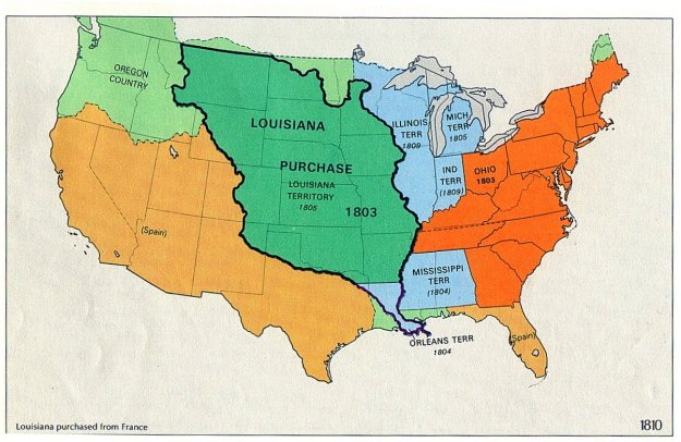 A map of the United States after the Louisiana Purchase.