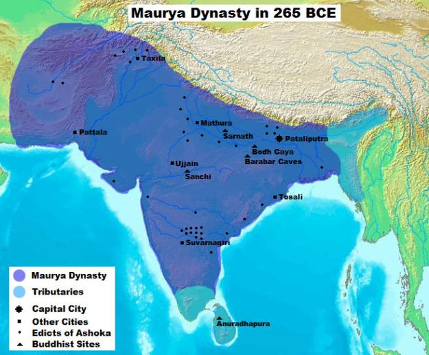 A map of the Mauryan Empire at its greatest extent.