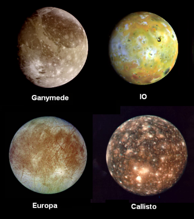 Photographs of the four largest moons of Jupiter.