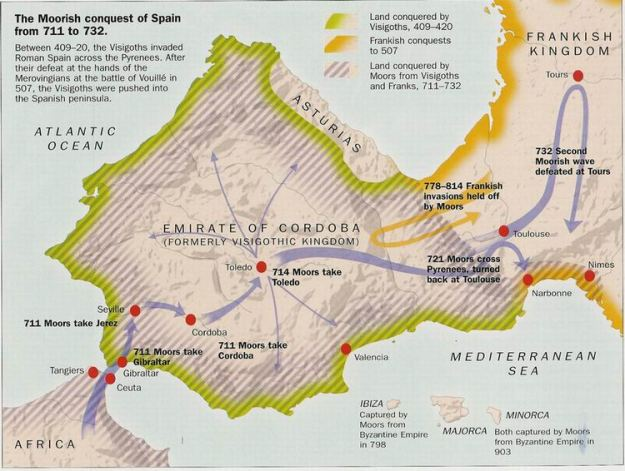 A map of the Muslim conquest of Spain in the 8th Century CE.