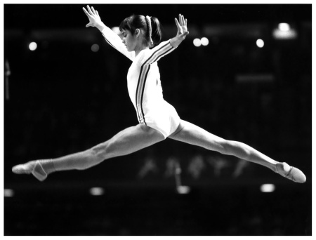 Nadia Comaneci competes at the Montreal Olympics (AP-Photo/mk).