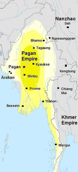 A map showing the growth of the Pagan Empire.