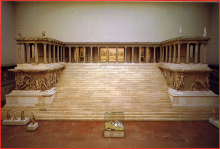 The Pergamon Altar as it has been reconstructed at the Pergamon Museum in Berliin.