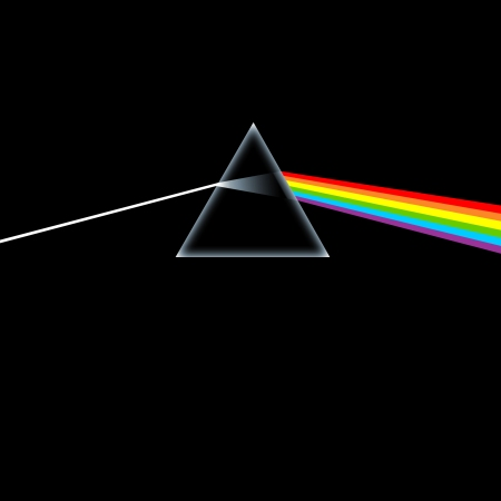 The cover of Pink Floyd's Dark Side of the Moon.
