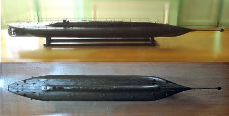 An 1867 model of the Plongeur submarine.