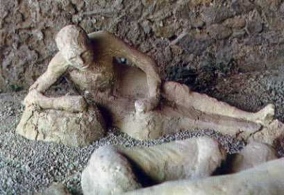 The eruption of Mt. Vesuvius killed the population of Pompeii and then buried them in ash, preserving their bodies.
