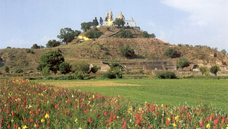 The remains of the Great Pyramid of Cholula.