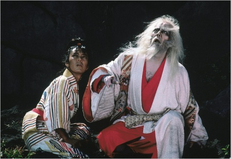 A still image from Akira Kurosawa's Ran, based on King Lear.