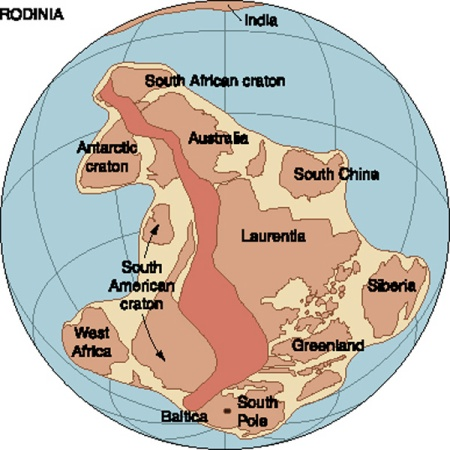 The supercontinent Rodinia as it appeared about 1.1 bya.