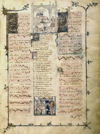A page from the Roman de Fauvel, showing text, music and iillustrations.