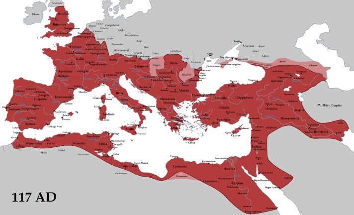 A map of the Roman Empire at its greatest extent, under Emperor Trajan.