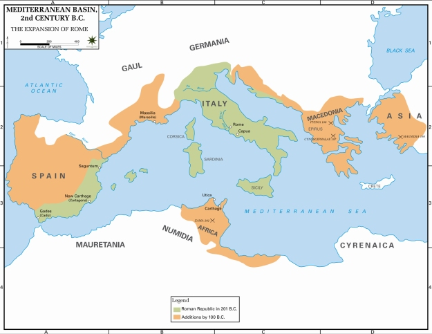 A map of the conquests of the Roman Republic by 100 BCE.